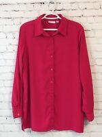 Susan Graver Womens Shirt Size Medium Pink Liquid Knit Long Sleeve Tunic Length
