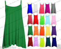 Womens Ladies & Girls Sleeveless Plain Strappy Cami Swing Dress Long Top TShirt