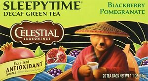 Celestial Seasonings Green Tea, Sleepytime Decaf Blackberry Pomegranate, 20 Ct