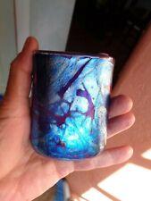 Vintage Iridescent Midnight Blues Cabinet Vase  Gozo Malta