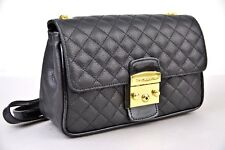 Di Gregorio 781 Black Leather Quilted Crossbody Shoulder Bag 100% Made in Italy