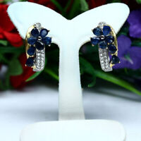 NATURAL HEATED BLUE SAPPHIRE & WHITE CZ EARRINGS 925 STERLING SILVER