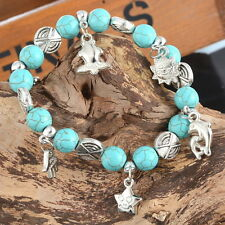 Unisexe Bracelet extensible Bracelet Turquoise Key Dolphin Star Pendentif Boho