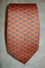 New Macclesfield 100% silk twill rich orange tie with blue & silver fish