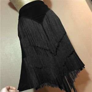 Women's Casual Ballroom Latin Skirt Tango Salsa Dance Fringes Tassels Black New