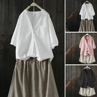 Women Long Sleeve Buttons Down Shirt Tops Casual Plain Cotton Blouse Laides Tops