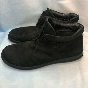 ECCO Men's Ankle Boots Black Suede Lace Up Flat Portugal 42 US 8-8.5