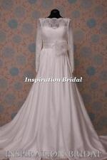 1597 blanc ivoire robe de mariage classique étage longueur 119 rosa manches longues bateau