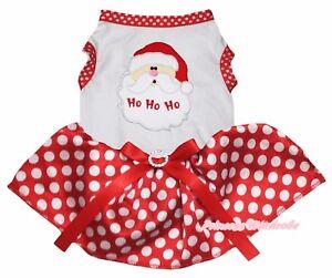 Xmas Santa Claus White Top Red Minnie Dots Tutu Pet Cat Dog Dress Puppy Clothes