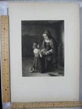 Rare Antique Original VTG 1877 Old Woman And Child Kneeling Engraving Art Print