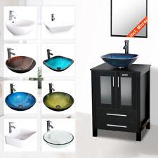 "Bathroom Vanity Cabinet Combo 24"" Organizer Top Vessel Sink W/ Faucet Drain Hose"