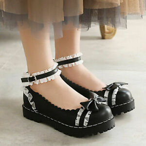 Women Cute Bow Girls Flats Ankle Strap Mary Janes Uniform Round Toe Lolita Shoes