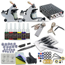 OPHIR Silver Tattoo Machine Kit with 2PCS Tattoo Guns Power Supply Ink Needles