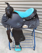 """14"""" New All Leather Pleasure/Barrel Western Saddle With Padded Blue Seat"""