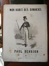 Partition Sheet Music 19 ème Siècle Mon habit des dimanches Paul Henrion
