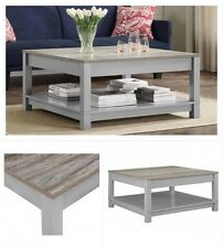 Wooden Coffee Table Square Rustic Oak Wood Living Room Decoration Gray Furniture