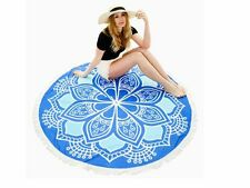 BLUE LOTUS FLOWER BOHEMIAN ROUND TASSEL BEACH TOWEL YOGA MAT TASSEL