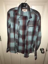 mens - PENGUIN shirt - Size M - PLAID - Button-Down - Cotton - Long Sleeve