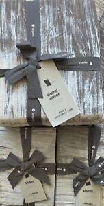 west elm crinkle velvet king duvet & 2 standard shams in pearl gray