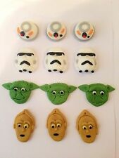 Edible In The Style Of Star Wars Cupcakes X12 Cake Topper Icing Decoration