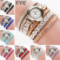 Fashion Women Vintage Rhinestone Crystal Bracelet Dial Analog Quartz Wrist Watch