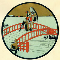 1930s French Pochoir Print Art Deco LAFUGIE Japanese Geisha On Red Bridge (S)