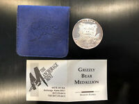 1992 Anchorage Mint, Grizzly Bear Medallion Silver Coin, w/ Pouch and COA *TONED