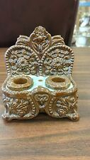 ANTIQUE MAJOLICA POTTERY DOUBLE INKWELL - GREAT DESIGN