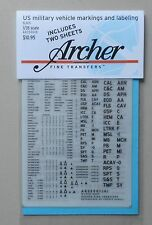 US MILITARY VEHICLE MARKINGS 1:35 ARCHER TRANSFERS MODEL ACCESSORY 35001B