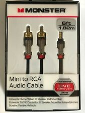 Monster 6-FT 1.82M MINI TO RCA AUDIO CABLE 3.5mm Phone Tablet Speaker TV PC HQ