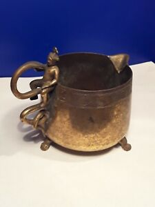 Antique Burmese Brass Cup Footed Vessel with Snake Handle