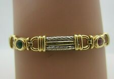 14K Yellow White Gold Cabochon Ruby Sapphire Emerald Cable Bracelet