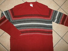 WOMENS ESPRIT SWEATER V-Neck Wool Blend Knit vtg Christmas Fair Isle RED