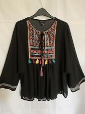 New Look Flared Sleeved Hippie Tribal Embroidered Top Size 14
