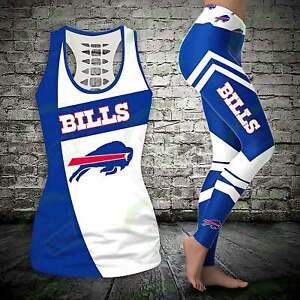Buffalo Bills 2Pcs Women's Tank Top Leggings High Waist Butt Lifting Yoga Pants