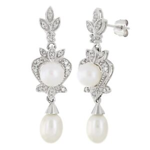 14k White Gold 0.25ctw Culture White Pearl & Diamond Antique Style Earrings