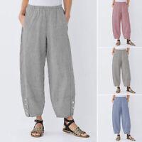 ZANZEA Femme Pantalon Simplement Boutons Rayures Poches Taille elastique Plus