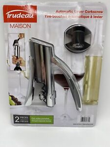Trudeau Maison Automatic Lever Corkscrew 2 pc with Foil Cutter Included New