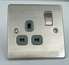 BG SBS21G 1 Gang Stainless Steel 13A Switched Socket Screwed Flat Plate Grey