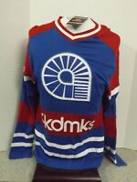 NWT Akademiks Long Sleeve V Neck Shirt Hockey Blue Red White Men's Size Large