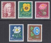 Switzerland 1958 MNH Mi 663-667 Sc B277-B281 Juventute.Flowers.Albrecht Haller