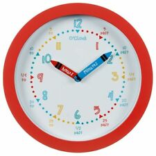 Kids Learn To Tell The Time New Style With Colourful Digits Wall Clock Red