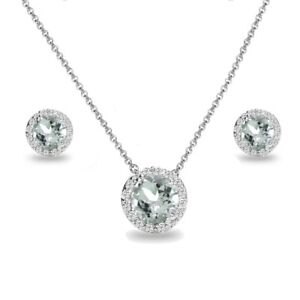 Round Halo Aquamarine & White Topaz Necklace & Stud Earrings Set in 925 Silver
