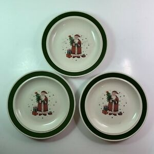 Stoneware Christmas Snack Plates Set of 3 Santa Father Christmas Presents Joy