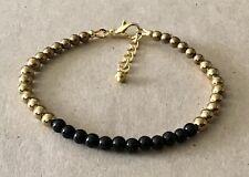 Golden Plated, Friendship Bracelet Black Onyx+Golden Hematite Beaded,