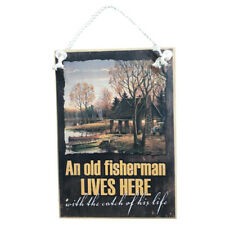 Country Printed Quality Wooden Sign OLD FISHERMAN LIVES HERE Plaque New