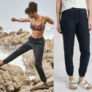 ATHLETA Cabo Linen Jogger Pants Size 8 Zipper Pockets #405720 Black Active