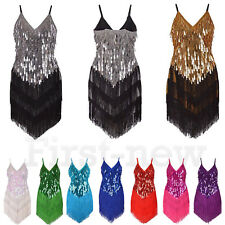 1920's Fringed Cocktail Party Dance Ballroom Dress Sequins Ladies Flapper Tassel