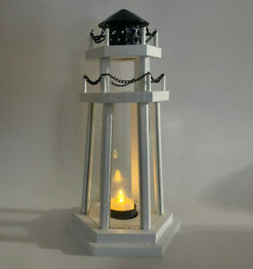 LOT of 6 Lighthouse Point Wooden Lantern Centerpieces Navy Blue/White 12.2""
