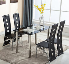 Glass Dining Table and 4 Chairs Sets High Back Faux Leather Kitchen Furniture